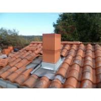 Abergement de cheminée + bavette plissée plomb naturel 45x45cm épaisseur 1mm LAHERA