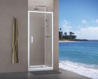 Paroi de douche CONCERTO pivotante blanc verre transparent 80cm