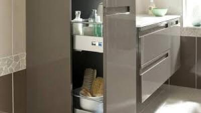 Meuble de salle de bains colonne 1 porte+1 tiroir intérieur INFINY aubergine ouverture gauche largeur 40cm