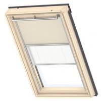 Store occultant-tamisant Duo DFD pour fenêtre de toit beige + plissé blanc NG VELUX
