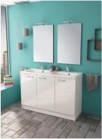 Plan-vasque resine de synthèse blanc largeur 120cm 2 cuves P46cm TARTROU