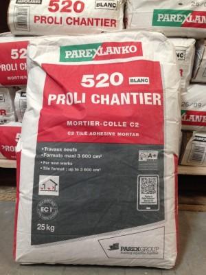 Mortier colle 520 PROLICHANTIER blanc 25kg PAREXGROUP