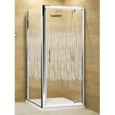Porte douche vision g pivotante 76 verre transparent blanc for Porte douche novellini