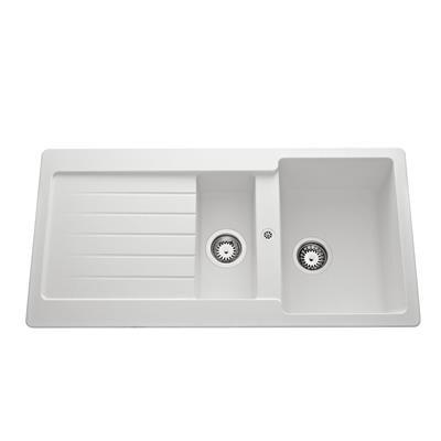 Evier cri INDIA blanc 1 cuve 1/2 1 égouttoir 100x42.9cm BASIC SEGMENT