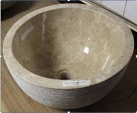 Vasque striée ronde en marbre 40x34x22x18cm