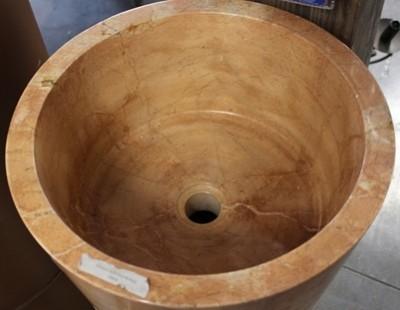 Vasque sur pied rond marbre beige hauteur 90cm diamètre 40cm/37cm