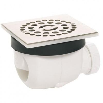 Bonde de douche TWISTO diamètre 90 avec grille en inox carrée 15x15cm WIRQUIN PLASTIQUES