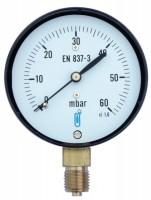 Manomètre 0 à 6 bars-capsule boitier acier chromé classe 1.6 sec raccord vertical 8x13 diamètre 63mm