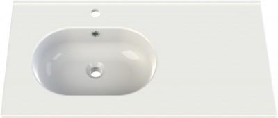 Plan céramique Seducta 90cm Blanc asymétrique sous vasque gris