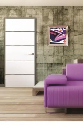 Bloc-porte gravé isolant escale M Prematherm pré-peint 730mm droite poussant huisserie créaconfort recouvrement 3 points auto Climat B 67x57cm