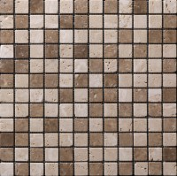 Pierre naturelle ARTE.DESIGN travertin blanc beige marron vieilli mosaïque s2x2 30x30cm