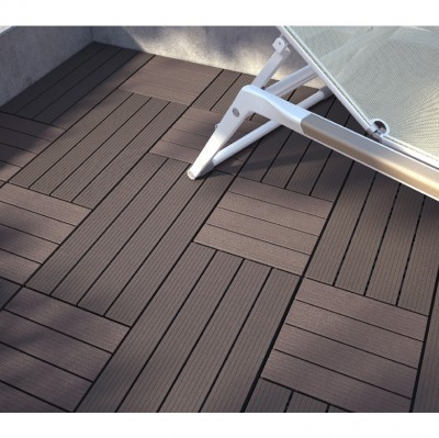 Dalle de terrasse clipsable composite marron 30x30cm