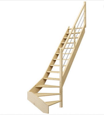 Escalier primo sapin sans contremarches avec rampe droite