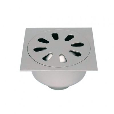 Siphon inox rosette vis d'inviolabilité 250x250mm diamètre 100mm LIMATEC