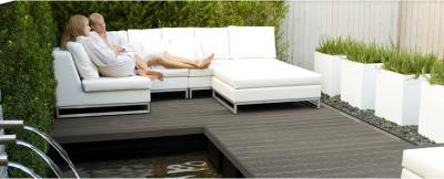 Lame de terrasse composite TWINSON gris galet rainurée 28x140x4000mm