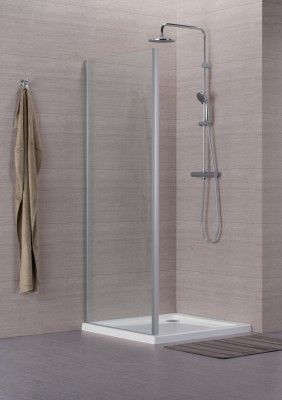 Paroi de douche CONCERTO retour fixe blanc verre transparent 90cm STAC RHA