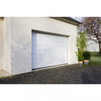 Porte de garage OREGON sectionnelle nervure larges blanc 200x240cm