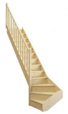 Escalier UNO sapin avec contre marche non monté avec rampe fuseau gauche 274cm