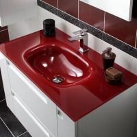 Plan en verre INFINY/STYLE rouge 2 vasques largeur 120cm