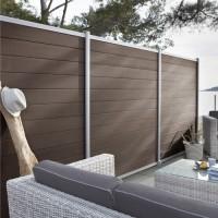 Décor inox cadre brun pour clôture composite 2x20x195cm