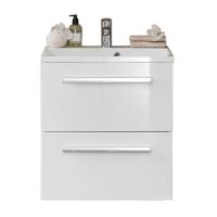 Meuble 2 tiroirs 60cm WOODSTOOCK laqué blanc