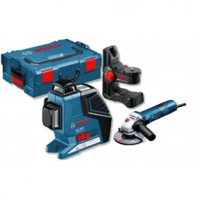 Kit Laser lignes GLL 3-80 P + support BM 1 + meuleuse GWS 7-125 - Bosch Professionnel