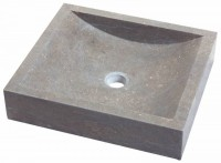 Vasque rectangulaire marbre fossile gris 45x40x10cm