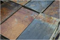 Dalle d'ardoise naturelle finition brut, 4 bords sciés, oxydée 60x40cm