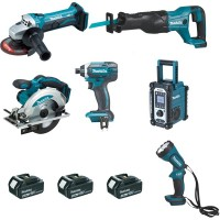 Ensemble de 6 machines MAKITA - Perceuse-visseuse + DGA452+DJR186 + DML185 + DSS610 + DTD152 + DMR107