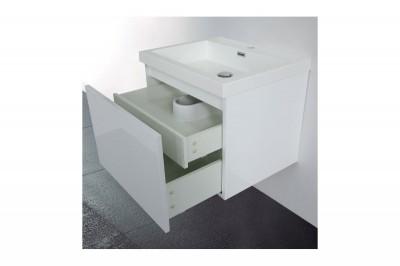 Meuble primeo 60 cm suspendu 2 tiroirs blanc le port - Meuble salle de bain 70 cm largeur ...