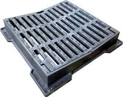 Grille fonte carrée concave PMR DELITA CO 40 D400 420x420-300x300mm FONDATEL