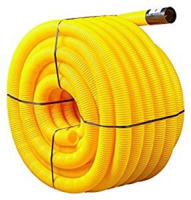 Fourreaux jaune PE annelé diamètre 110mm barre de 6m RYB