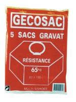Sacs gravats polypropylène résistance 65kg 60x100cm paquet de 5 GECOSAC