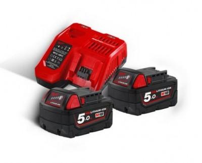 Ensemble chargeur + batteries red Li-ion M18 NRG-502 NRJ+1 avec batterie MILWAUKEE