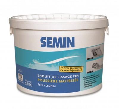 Enduit de lissage poussière maîtrisée seau de 25kg SEMIN