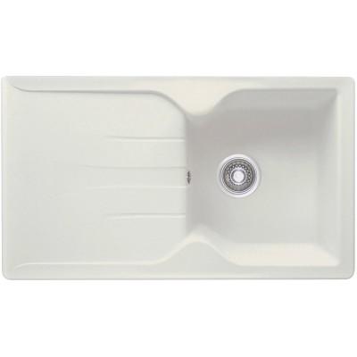 Evier PRIMEO 86x50cm à encastrer 1 cuve 1 égouttoir blanc