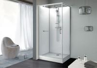 Cabine rectangle KARA porte pivotante verre transparent blanc 120x90cm LEDA