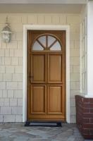Porte d'entrée droite modèle ELE bois exotique meranti chêne 215x90cm