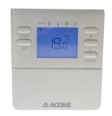 Thermostat d'ambiance digital radio 90x100x23mm ACOME