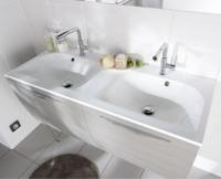 Plan INFINY résine blanc 2 vasques largeur 160cm
