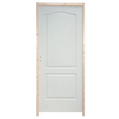 Bloc-porte postformé 1 vantail 2 panneaux huisserie 90 poussant droite prépeint rive droite climat B 2040x830mm