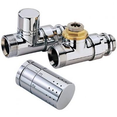 Kit robinet radiateur thermostatique déco chromé droit