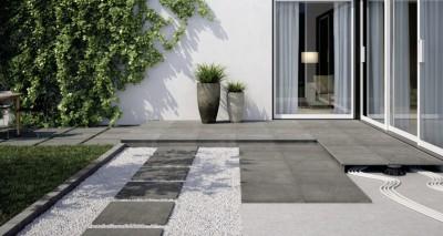 Carrelage sol extérieur grès cérame Factory 2.0 - gris naturel antidérapant - 60x60cm - ép. 2 cm