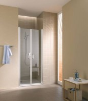 Porte 2 battants CADA profilé blanc verre transparent 84-91cm