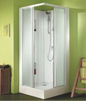 Cabine de douche IZIBOX 90x90 coulissantes confort verre granite LEDA