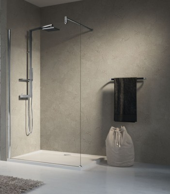 Paroi douche LUNES H 120cm verre transparent blanc NOVELLINI