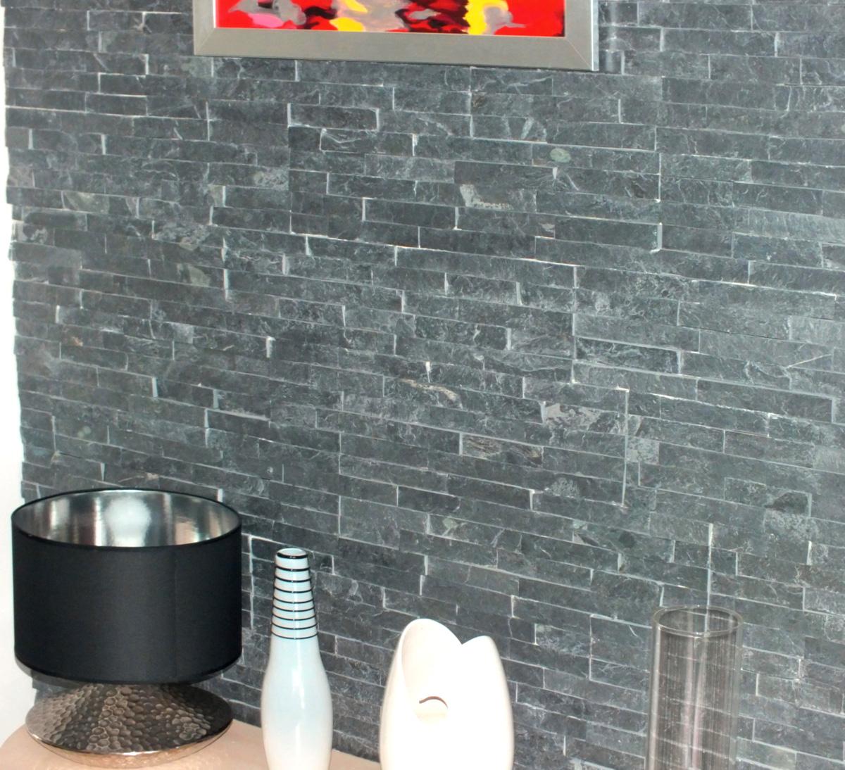 Mur Parement Interieur Ardoise plaquette de parement ardoise indy 15x60cm ép. 1-3cm - boîte de 0,54m² -  noir - arte home
