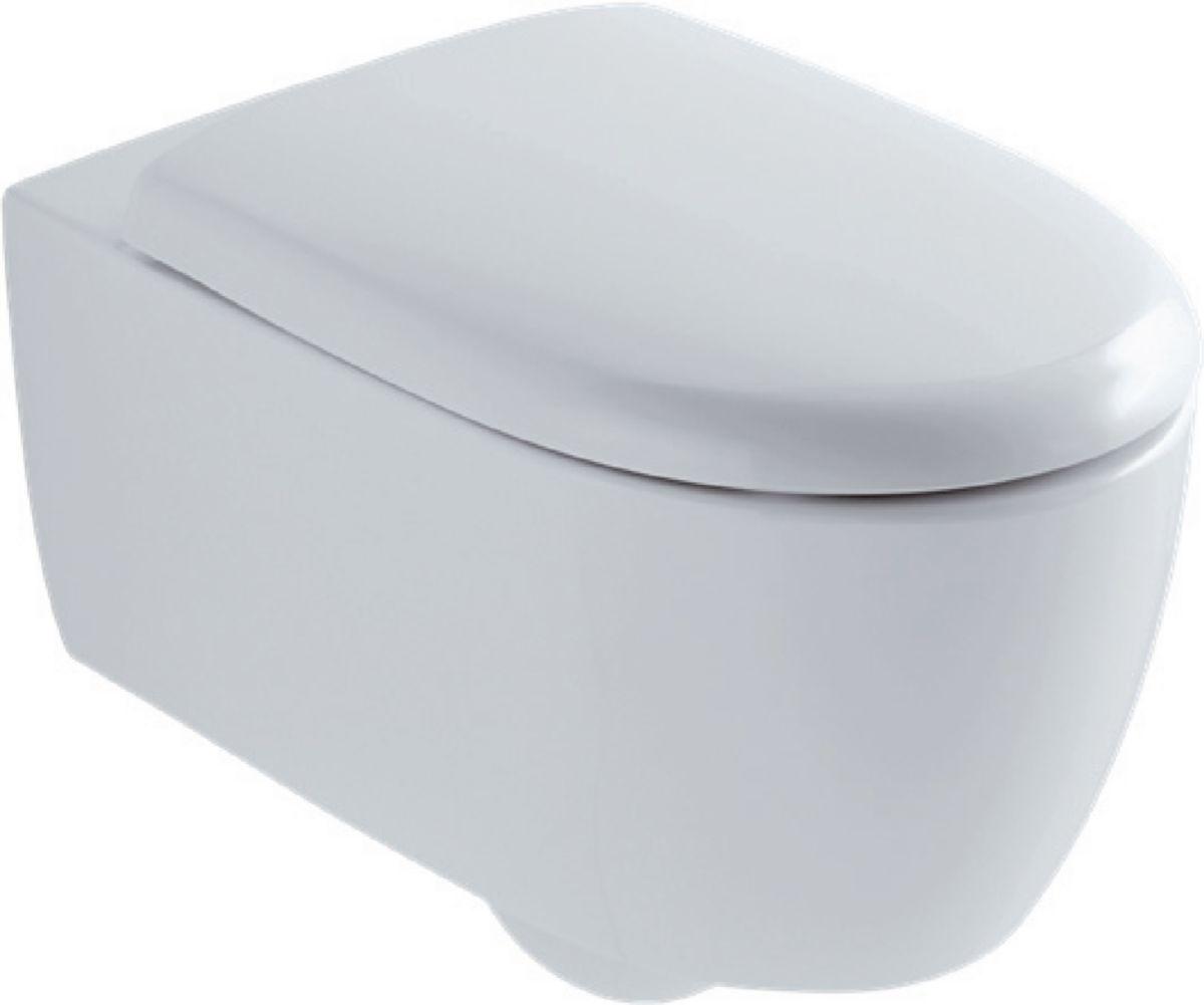 Cuvette De Wc Suspendu Geberit pack wc suspendu blanc lovely à cuvette, abattant à fermeture ralentie, jeu  de fixations cachées blanc- allia - 083956