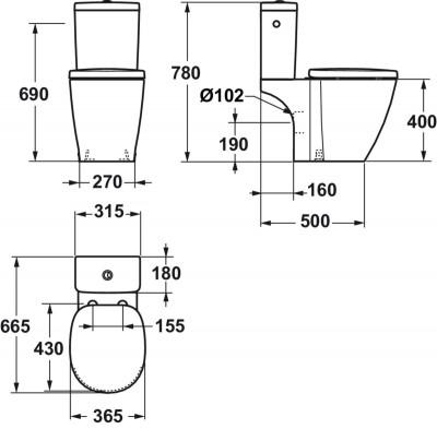 cuvette connect pour ensemble wc 36 5x66 5cm avec sortie. Black Bedroom Furniture Sets. Home Design Ideas