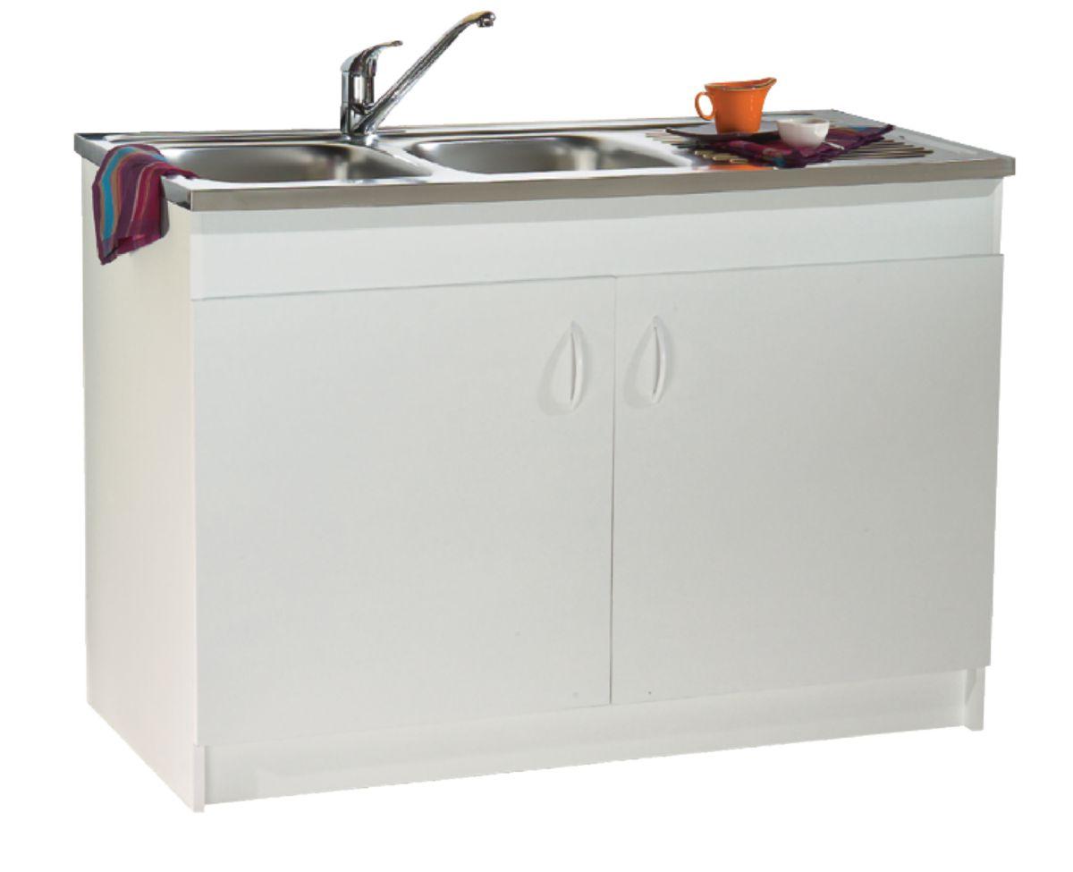 Meuble sous-évier Simstrat mélaminé blanc 11 portes 1110 x 11 cm NEOVA